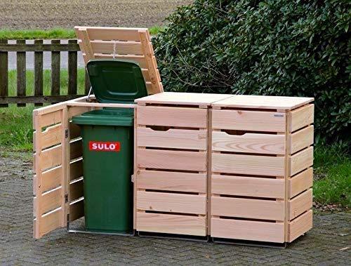 binnen-markt 3er Mülltonnenbox/Mülltonnenverkleidung 120 L Holz, Douglasie Natur