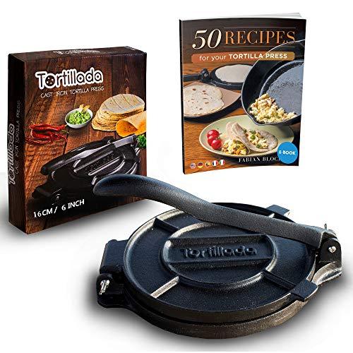 Tortillada - Premium Tortillapresse aus Gusseisen mit Rezepten (16cm) inkl. E-Book mit 50 Tortilla Rezepten