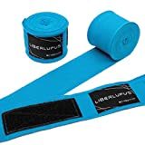 Liberlupus 120''/180'' Boxing Hand Wraps for Men & Women, Elastic Hand Wraps for Boxing Gloves, Handwraps with Hand & Wrist Support for Boxing Kickboxing Muay Thai MMA (Stylish Turkis, 180 inch)