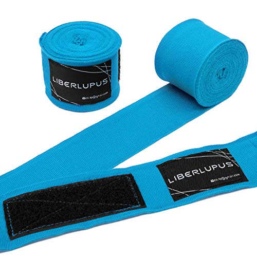 Liberlupus 120''/180'' Boxing Hand Wraps for Men & Women, Elastic Hand Wraps for Boxing Gloves, Handwraps with Hand & Wrist Support for Boxing Kickboxing Muay Thai MMA (Stylish Turkis, 120 inch)