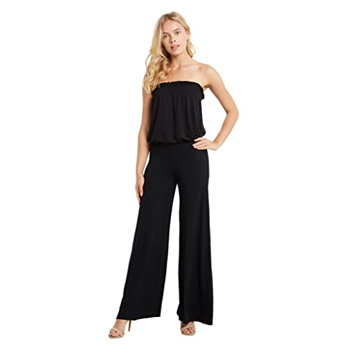 16cfaa8dcf2e Poshsquare Women s Smocked Tube Strapless Jersey Wide Leg Pants Jumpsuit  Playsuit USA Black M