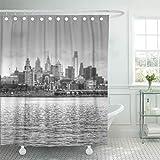 Semtomn Shower Curtain Philly Philadelphia Skyline in Black and Pennsylvania Skylines Cityscape 72'x72' Home Decor Waterproof Bath Bathroom Curtains Set with Hooks