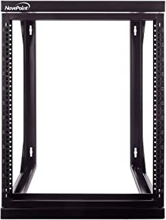 NavePoint 12U Wall Mount IT Open Frame 19 Inch Rack with Swing Out Hinged Gate Black