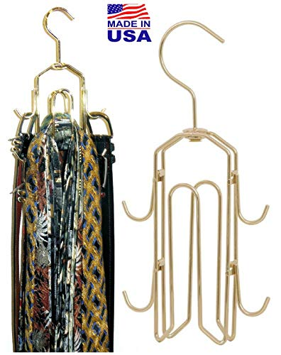 BT Hanger, Tie Rack, Tie Holder, Tie Hanger, Belt Hook Hangers in a closet organizer with non wood racks hold ties, bow tie for men and mens belts and hanging accessories by Rotating Swiveling hooks