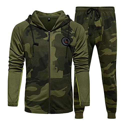 LBL - Tuta da uomo mimetica, casual, con cappuccio, pantaloni da jogging sportivi B-Verde. M