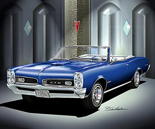 Amazon Com 1966 Pontiac Gto Convertible Barrier Blue Art Print Poster By Artist Danny Whitfield Size 20 X 24 Posters Prints