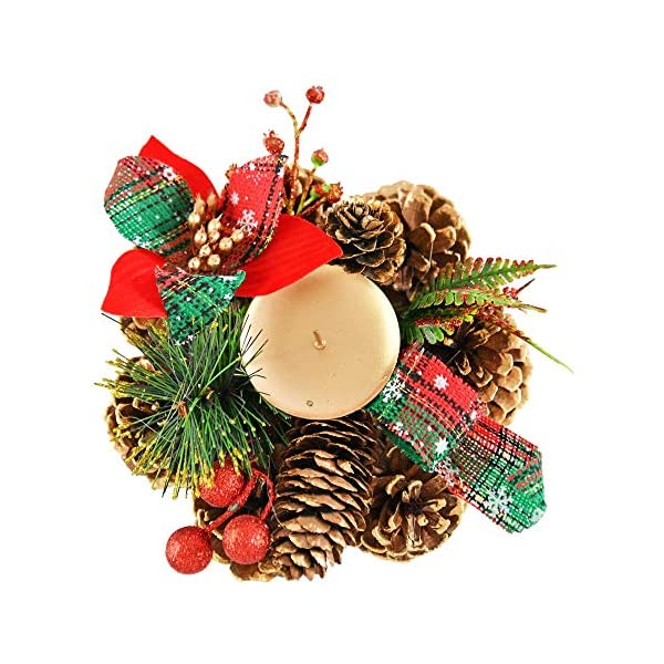 "Home-X Shimmering Pinecone Christmas Wreath Candle Holder, Artificial Advent Wreath, Winter Home Decorations, (6"" Diameter)"