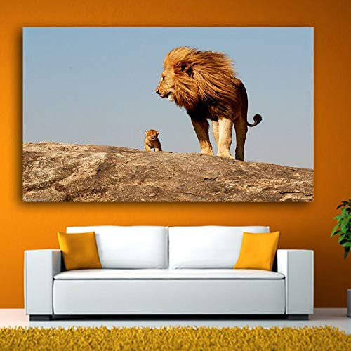 ganlanshu New Lion Mother And Child Animal Art Large Canvas Mural Living Room Love Home Decoration Pittura Senza Cornice 20cmX35cm