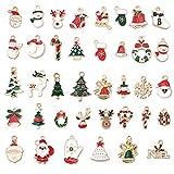 jahemu ciondoli di natale lega ciondolo christmas pendant charms colorati mini natalizi pendenti decorazioni natalizie accessorio di gioielli per collana bracciale orecchino 38 pezzi
