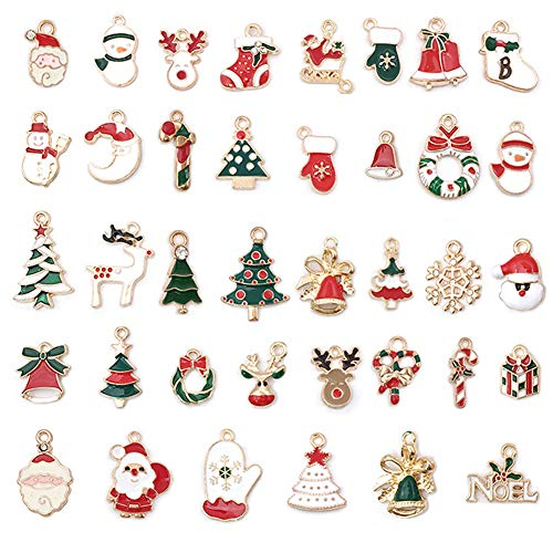 JAHEMU Colgantes de Navidad Mujer Oro Navideños Encantos Christmas Pendants Charms Dijes para Bisutería Pendientes Pulsera Collar DIY Manualidades Decoración de Navidad 38 piezas