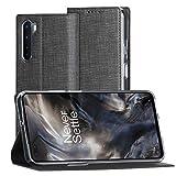 FUNMAX+ OnePlus Nord Hülle, PU Leder Handyhülle mit Kartenfach, Schutzhülle Hülle Tasche Flip Cover Standfunktion Stoßfest Brieftasche für OnePlus Nord 5G (Schwarz)