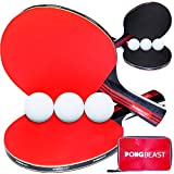Ping Pong Paddle Set of 4 by PONGBEAST - Table Tennis Set Includes 6 Table...