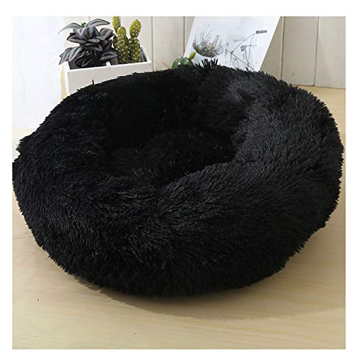 YAOTT Plush Round Pet Bed Cats Dogs Warm Calming Donut Cuddler Kennel Puppy Soft Fluffy Faux Fur Cushion Bed for Orthopedic Relief and Improve Sleep Anti-Slip Bottom Black D110cm