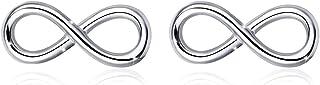 GOXO Pendientes de botón de plata de ley 925 Cross Infinity para mujer hombre