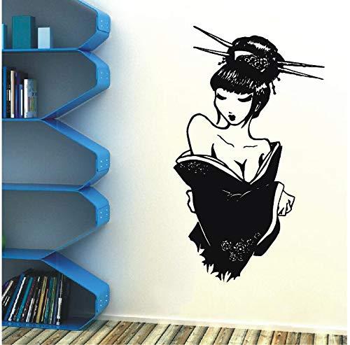 Stickers muraux Salon de beauté Geisha Vinyle Autocollant Japonais Manga Oriental Fille Maison Chambre décoration 63X108 cm