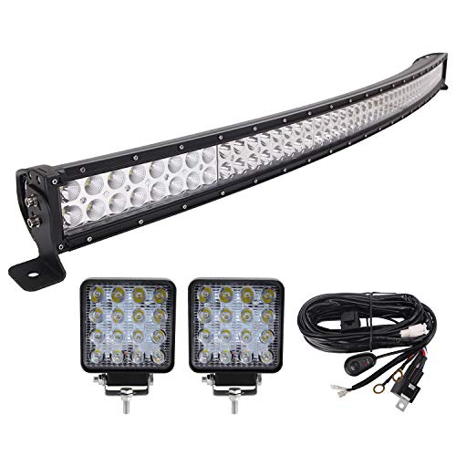 LED Light Bar, 52'' 300W Combo Cree Curved, Fuse Relay Switch 10FT Wiring Harness, 2X 48W Flood Pods Lights,Led Fog Driving Light Off-Road Truck Boat SUV Tractor Forklifts Back Up Reverse Trailer