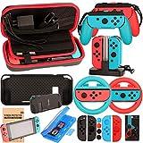 Kit Accessori per Nintendo Switch - Custodia Pellicola Protettive per Nintendo Switch Console - Custodie per Giochi Cartucce - Volante Cappucci Cover per Joy-Con Controller (17 in 1)