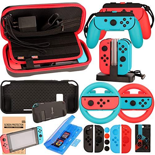 Nintendo Switch Zubehör Set - Tragetasche Hülle Displayschutzfolie für Nintendo Switch konsole - Tasche für Spiele - Lenkrad Griff Silikon Schutzhülle Ladestation für Joy-Con Controller (17 in 1)