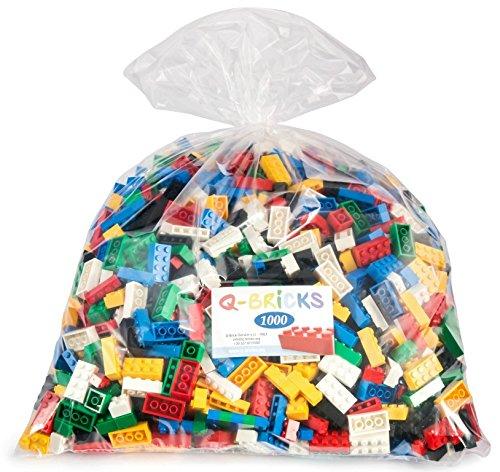 Q-Bricks Beutel Kindergarden- Basic Mix mit 1000 Bausteinen in den Farben : Feuerrot, Reinweiss, Verkehrsgelb, Signalgrün, Verkehrsschwarz, und Himmelblau ind den Formaten: 2X4, 1X4,2X2 Noppen.
