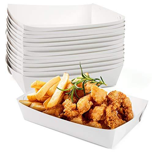 HAKACC Kraftpapier-Lebensmittel-Tablett, 60 Stück, weißes Papier, Serviertabletts für Mittagessen, Fast Food Snack