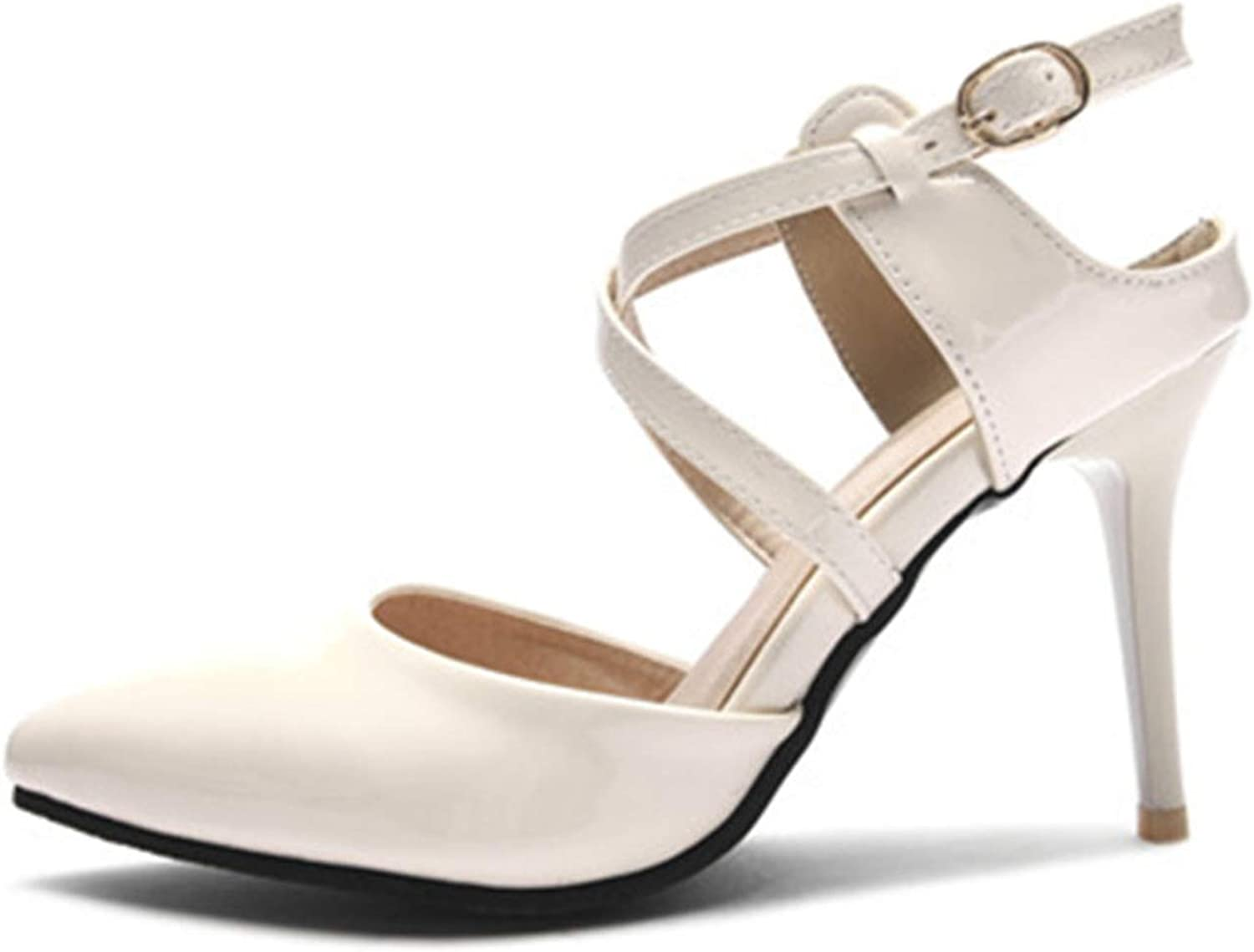 Heart to Hear Big Size Summer shoes for Women Pointed Toe Buckle Ladies shoes,