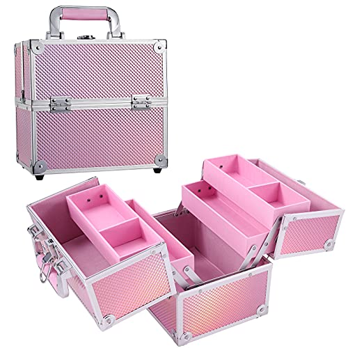 Hododou Portable Makeup Train Case for Women Cosmetic Travel Box 4 Trays Pink Organizer Jewelry Tool Box Handle Makeup Box with Lockable