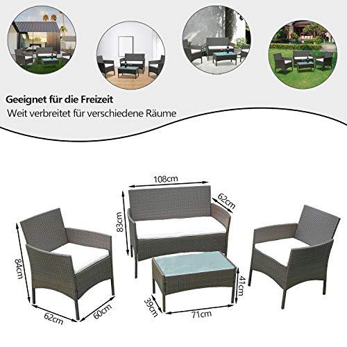 Hengda Polyrattan Lounge Sitzgruppe für 4 Personen inkl. Sitzpolster und Tisch, Braun, Komfortabel Gartenmöbel Terrassenmöbel für Balkon, Garten, Terrasse - 2