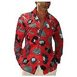 MINYING Homme Chemise Imprimé Coton et Lin Chemises Revers Rétro, Chemise Boutonnée à Manches Longues, Mode Hauts Automne Grande Taille Pas Cher