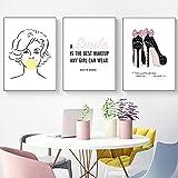 LZASMMVP Marilyn Monroe Bubble Gum Maquillaje Impresión de Lienzo Pintura Tacones Altos Lady Quote Poster Imagen de la Pared Decoración | 40x60cmx3 Sin Marco