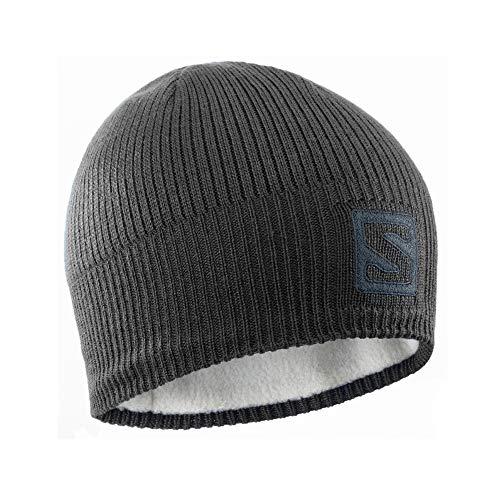Salomon Logo Beanie, Berretto per Escursioni e Allenamenti, L36685000 Unisex Adulto, Nero/Grigio Scuro (Dark Cloud), Taglia Unica