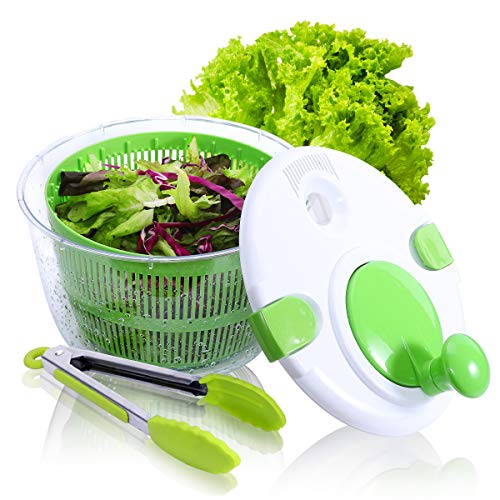 Large Salad Spinner with Free Silicone Tongs - 5 QT Manual Lettuce Spinner with Secure Lid Lock & Rotary Handle, Vegetable Washer Dryer Quick Dry off &Drain Lettuce with Ease for Faster Food Prep