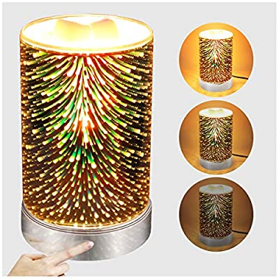 3D Glass Wax Warmer for Scented Wax with Touch dimming Control Wax Melt Burner Melter Fragrance Warmer for Home Office Bedroom Living Room Christmas Gifts & Decor (3D Fireworks)