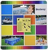 BESTWAY 62091 - Kit de Reparación Parche Adhesivo Extra Fuertes para Uso Bajo el Agua Para Hinchables y Piscinas Desmontables Paquete 10 Unidades 6,35x6,35 cm
