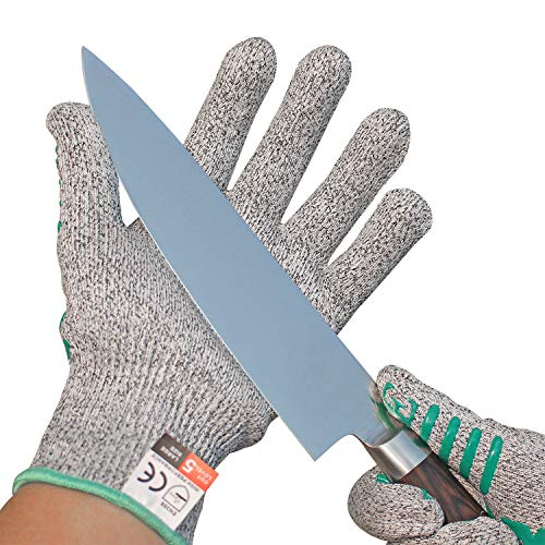 rutschfest Schnittfeste Handschuhe – Leistungsfähiger Level 5 Schutz, Lebensmittelecht. Größe Large, 1 Paar