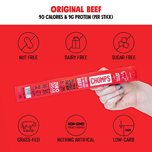 CHOMPS Grass Fed Beef Jerky Meat Snack Sticks | Keto Certified, Whole30 Approved, Paleo, Low Carb, High Protein, Gluten Free, Sugar Free, Non-GMO | 100 Calorie 1.15 Oz Stick, Original Beef 10 Pack