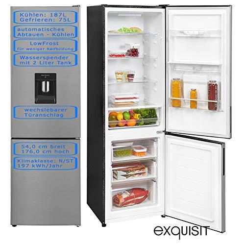 Kühl Gefrierkombination | A++ | Wasserspender mit 2L Wassertertank | LED Beleuchtung | LowFrost für weniger Reifbildung | 187l Kühlen & 75l Gefrieren | Wechselbarer Türanschlag | Inoxlook
