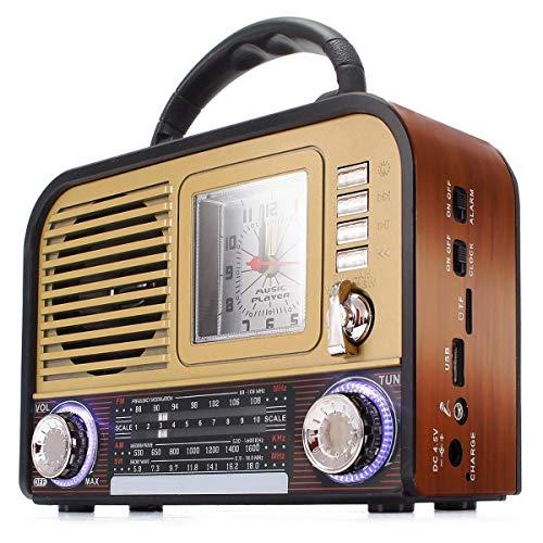 Caixa de Som Rádio Retro Bluetooth USB SD c/Relógio Dourado