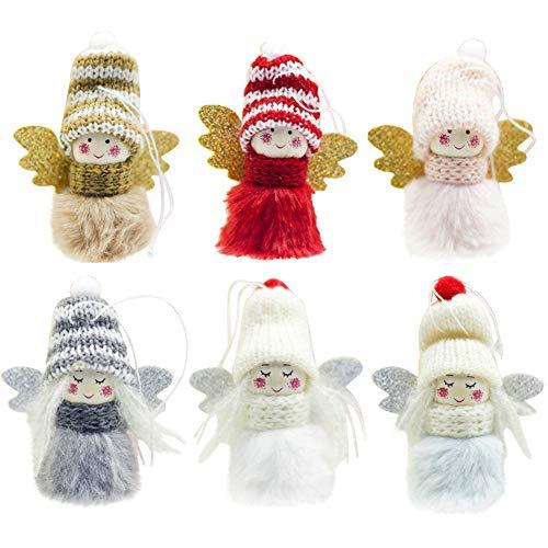 6Pcs Decorazioni per Alberi di Natale Peluche Bambole di Angelo Appesi Ornamenti,Ciondolo in Alce...