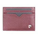Mens Oxblood Genuine Leather Card Wallet - Pebble Grain by <span class='highlight'>Pierre</span> <span class='highlight'>Cardin</span> | Gents Slim line Credit Cards Holder in Presentation Gift Box