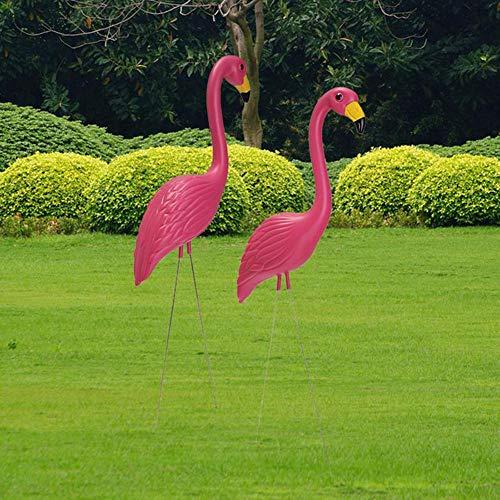 Loveinwinter 2 Piezas Flamenco Jardin,56X24cm Decoraciones De Jardín Vivid Rosa Flamingo,Simulacion Plastica...