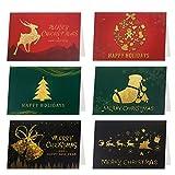 HOWAF Tarjetas de Navidad, 24 Tarjetas navideñas en Blanco y Sobres de Regalo y Etiquetas Adhesivas...