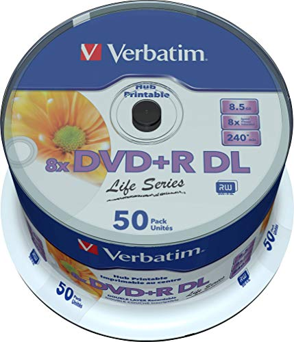 Verbatim DVD Doble Capa DVD+R DL 8.5 GB / 240 min 8x, Full printable White No ID, 50 piezas en caja