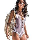 Tela de nylon rayas multicolor cintura alta delgada sexy señoras traje de baño de una sola pieza mujeres traje de baño bikini, Rayas., XL