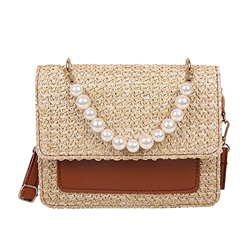Bolso de playa de paja con asa de perlas de estilo retro para mujer, bolso de paja de rafia, bolso de cesta, adecuado para viajes de verano