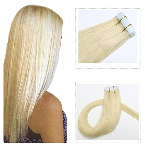 Tape in Hair Extensions Remy Human Hair Platinum Blonde Real Hair 16 inch 20pcs/30grams Seamless Skin Weft Silk Straight Double Sided Tape in Remy Hair (16 inches, 60)