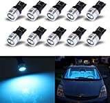 iBrightstar Extremely Bright 3030 Chipsets 168 175 194 2825 W5W T10 Wedge LED Bulbs for License Plate Interior Map Dome Trunk Lights, Ice Blue