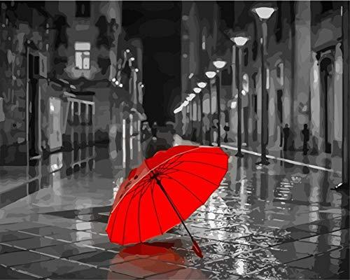 DIY Malen nach Zahlen für Erwachsene Junior Kinder, ABEUTY Roter Regenschirm & Graue Szene 40x50cm Weihnachten Valentinstag Geschenk