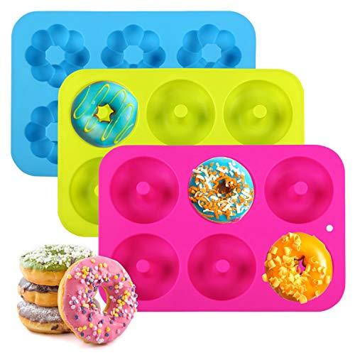 Ballery Donut Stampo, Set di 3 stampi per Ciambella in Silicone Donut Stampi Rotonda e Fiori Donut Stampi Antiaderente & Termoresistente Teglia Maker Pan per Cupcake, Gelatine e Dolci