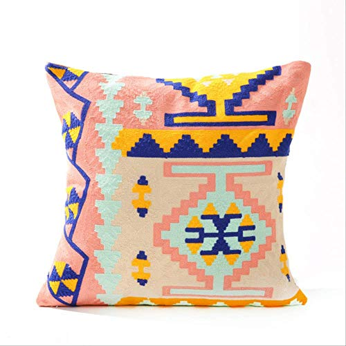 N\A 45 * 45cm Bohemian Color Geometric Cotton Embroidered Sofa Cushion Cover,mediterranean Wool Embroidery Home Pillowcase C