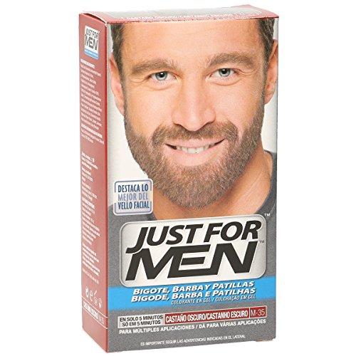 Just For Men, Tinte Colorante en gel para barba y bigote para hombre. Elimina las canas y cuida la barba en 5 minutos. Castaño Oscuro, 15 ml
